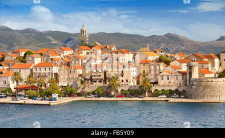Korcula, Old Town, harbor at the seafront, Croatia - Stock Photo