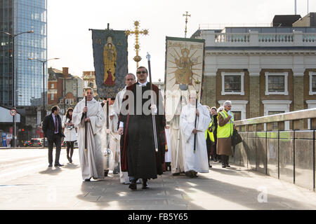 London, England, 10th January, 2016. The Annual Ceremony of the Blessing of the River Thames on London Bridge, London, - Stock Photo