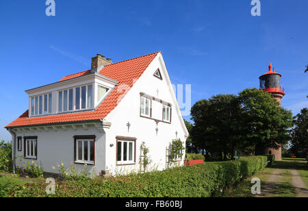 Staberhuk Lighthouse, Fehmarn island, Baltic sea coast, Schleswig-Holstein, Germany - Stock Photo