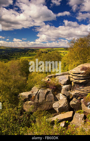 View over Nidderdale valley from Brimham Rocks, North Yorkshire, UK - Stock Photo