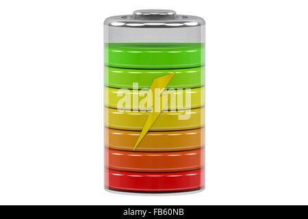 Battery charge level indicators isolated on white background - Stock Photo
