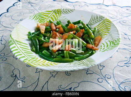 Schinkenspeck -Green Beans with Speck. German kitchen. - Stock Photo