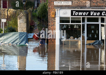 Flood waters in York City Centre after heavy rain, on 27th December  2015. - Stock Photo