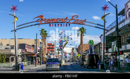 Start of Fremont Street, the 'Fremont Experience,' in downtown ('old') Las Vegas. - Stock Photo