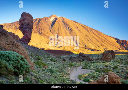 Mount Teide and Los Roques de Garcia, Teide National Park, Canary Islands, Tenerife, Spain - Stock Photo
