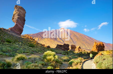 Tourist in Teide National Park, Canary Islands, Tenerife, Spain - Stock Photo