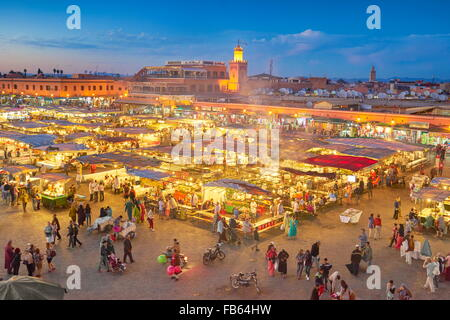 Marrakech Medina, Jemaa el Fna Square in the night, Morocco, Africa - Stock Photo
