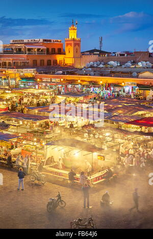 Marrakech Medina - Jemaa el Fna Square in the night, Morocco, Africa - Stock Photo