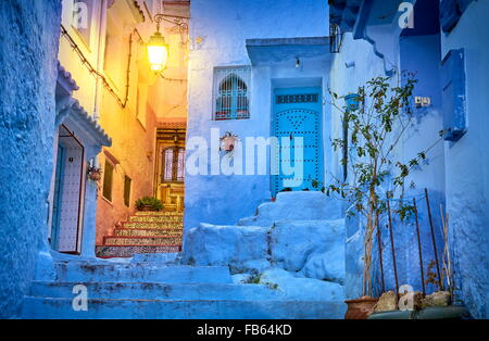 Blue painted walls in old medina of Chefchaouen (Chaouen). Morocco, Africa - Stock Photo