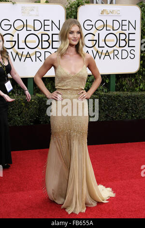 Beverly Hills, CA, USA. 10th Jan, 2016. Actress Rosie Huntington-Whiteley arrives at the 73rd Golden Globe Awards, - Stock Photo