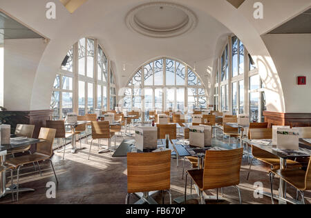 The restaurant of the Brussels Musical Instruments Museum MIM is famous for great views over the city and it's Sunday - Stock Photo
