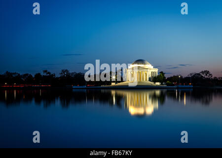 Jefferson Memorial illuminated at night in Washington DC - Stock Photo