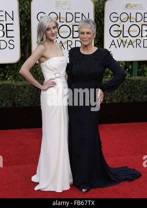 Beverly Hills, California, USA. 10th Jan, 2016. ANNIE GUEST and JAMIE LEE CURTIS arrive at the 73rd Golden Globe - Stock Photo