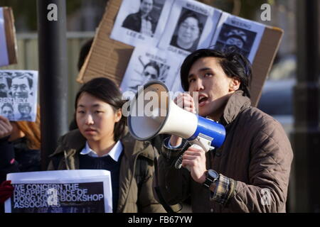 London,England,UK : 10th Jan 2016 : Protest for alleged China kidnapped Lee Bo,a bookseller within the border of - Stock Photo