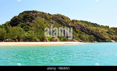 Beautiful beach on Praslin Island in Indian Ocean. - Stock Photo