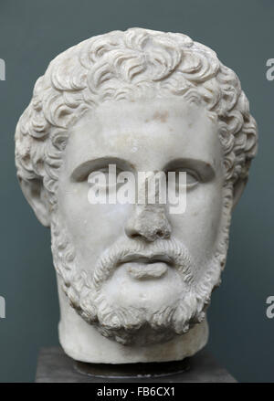 Philip II of Macedon (382-336 BC). King of the Ancient Greek Kingdom of Madedom from 359 -336 BC. Bust. Marble. - Stock Photo