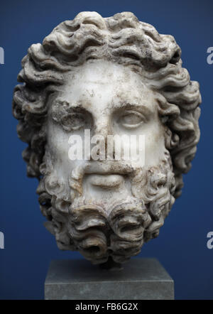 Zeus. Rome. Late 2nd century AD. Marble. The long hair and curly beard belong to one of the father gods. Traces - Stock Photo
