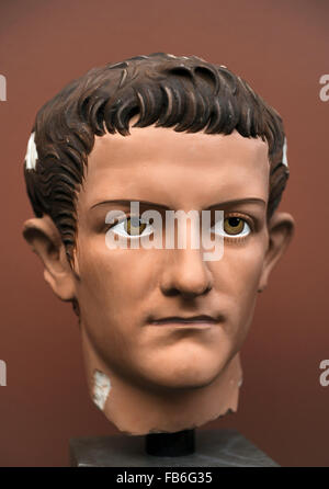 Caligua (Gaius Julius Caesar Augustus Germanicus). (12-41 AD). 3rd roman emperor. Julio-Claudian dynasty. Portrait - Stock Photo