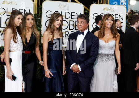 Beverly Hills, California, USA. 10th Jan, 2016. Sylvester Stallone (3rd R) accompanied by his wife Jennifer Flavin - Stock Photo