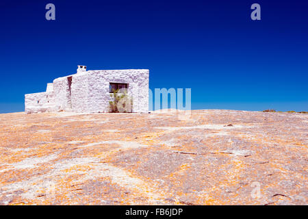 The white hut at Seeberg View Point in The West Coast National Park, South Africa - Stock Photo
