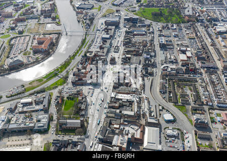 An aerial view of Stockton on Tees town centre and shopping precinct
