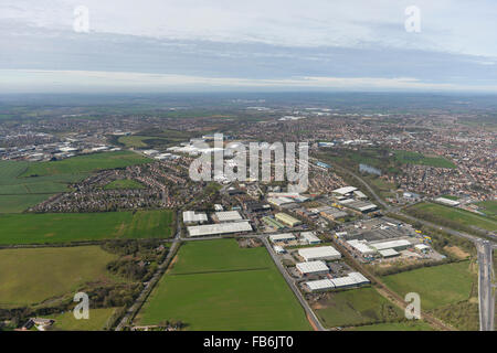 An aerial view of the Lowmoor Business Park in Sutton in Ashfield, Nottinghamshire - Stock Photo