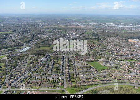 An aerial view of the St George's area of Telford, looking towards the Town Centre - Stock Photo