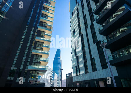 Italy, Milan, Porta Nuova, the Residential  Towers and the Diamond Tower in the background - Stock Photo