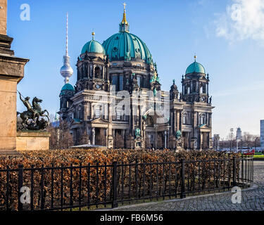 Berlin Cathedral, Berliner Dom, High Renaissance Baroque church building with green dome on Museum Island - Stock Photo