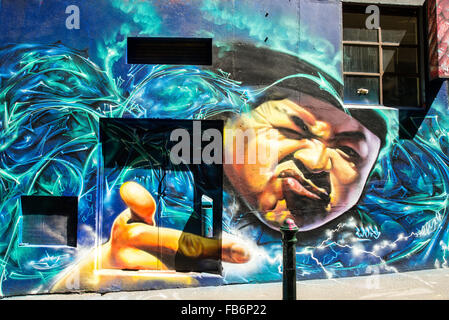 Australia, Melbourne, murals graffiti in the famous Hosier Lane in the city center - Stock Photo