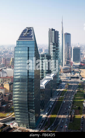 Italy, Milan, city scape from the Grattacielo of Della Repubblica square - Stock Photo