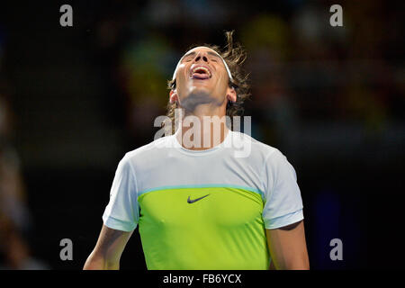 Sydney, Australia. 11th January, 2016. Rafael Nada (ESP) in action against Lleyton Hewitt (AUS) during the FAST4 - Stock Photo