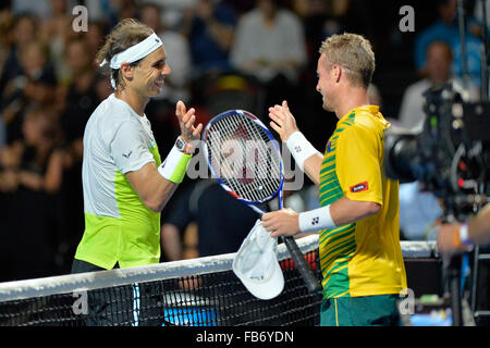 Sydney, Australia. 11th January, 2016. Rafael Nada (ESP) and Lleyton Hewitt (AUS) during the FAST4 tennis exhbition - Stock Photo