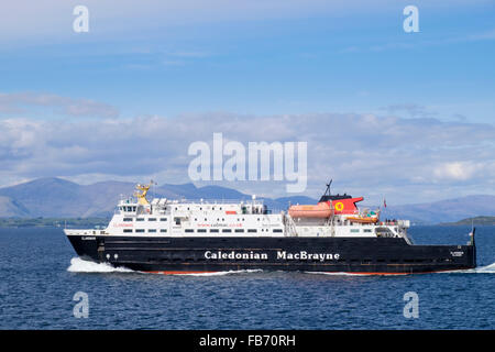 Caledonian MacBrayne ferry sailing out of Oban, Argyll and Bute, Inner Hebrides, Western Isles, Scotland, UK, Britain - Stock Photo