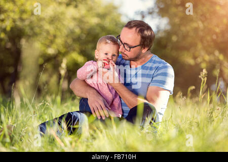Happy father and his daughter - Stock Photo