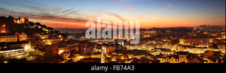 Aerial panoramic view of Lisbon at beautiful twilight. Portugal - Stock Photo