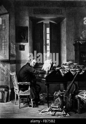 Ludwig van Beethoven (1770-1827), German Composer, in his Study, Gravure Print, 1895 - Stock Photo