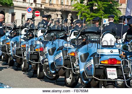 police motorcycles,milan - Stock Photo