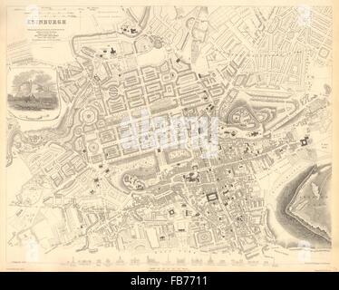 EDINBURGH: Antique town city map plan. Key buildings profiles. SDUK, 1848 - Stock Photo