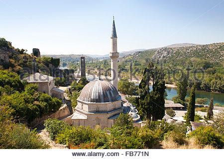 mosque,pocitelj,ancient town and neretva river,bosnia and herzegovina,europe - Stock Photo
