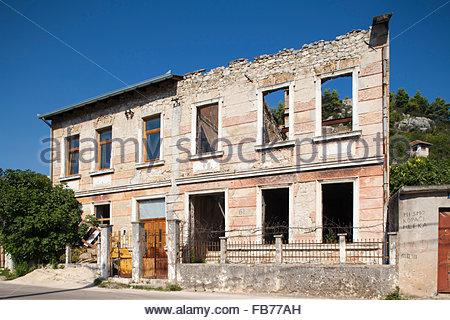 bombed house,stolac,village,bosnia and herzegovina,europe - Stock Photo