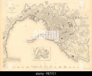GENOVA (GENOA GÊNES) GÈNES: Antique town city map plan.Inset outworks.SDUK 1848 - Stock Photo