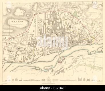 WARSAW WARSZAWA: Antique town city map plan. Building profiles.Colour.SDUK 1848 - Stock Photo