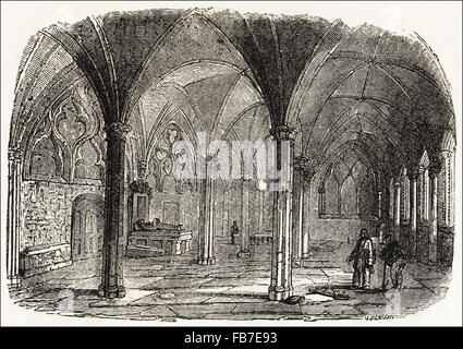 The Lady Chapel inside St Mary Overie aka Southwark Cathedral London. Victorian woodcut engraving circa 1845. - Stock Photo