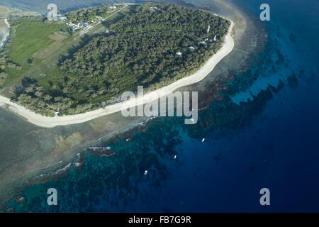 Aerial view of Lady Elliot Island in Queensland, Australia. - Stock Photo