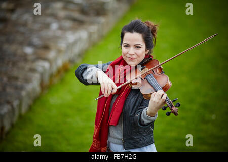 BBC Music day 'for the love of music'  Hadrian's Wall of Sound 2015 at Banks East Turret at the wall violinist  - Stock Photo