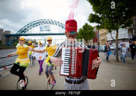 BBC Music day 'for the love of music'  Hadrian's Wall of Sound 2015  At Newcastle upon Tyne unicycle along the Tyne - Stock Photo