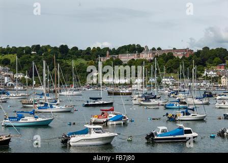 The River Dart with views towards Britannia Royal Naval College, (BRNC) Dartmouth, Devon, England. UK. - Stock Photo