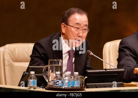 (160111) -- UNITED NATIONS, Jan. 11, 2016 (Xinhua) -- The United Nations Secretary-General Ban Ki-moon speaks during - Stock Photo