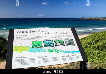 Interpretive sign along the Kapalua Coastal Trail on Maui - Stock Photo